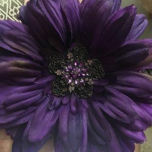 NEW PURPLE FLOWER BROOCH